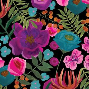 large gouache floral pattern