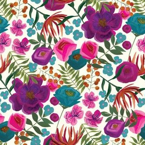 small gouache floral pattern in white
