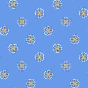 Rainbow Fractals On Cornflower Blue