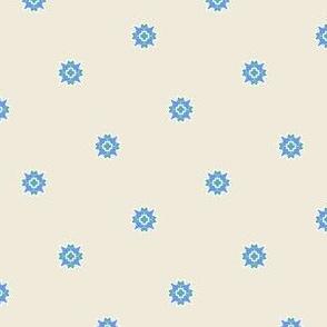 Blue Flower Dots On Yvory