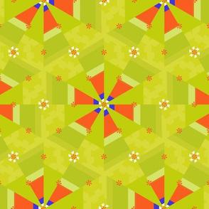 Geometric Flowers On Green