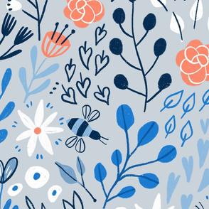 Bees flowers blue summer