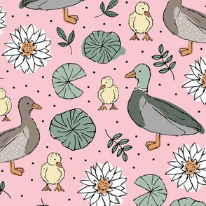 Little duck family romantic english garden with pond leaves and water lilies pink mint gray girls