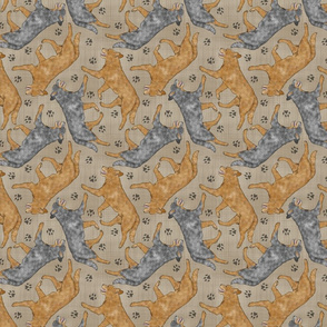Trotting Australian Cattle Dogs and paw prints - faux linen