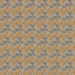 Tiny Trotting Australian Cattle Dogs and paw prints - faux linen
