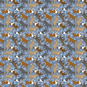 Tiny Trotting Bull Terriers colored and paw prints - faux denim