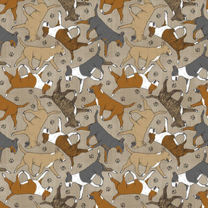 Trotting Bull Terriers colored and paw prints - faux linen