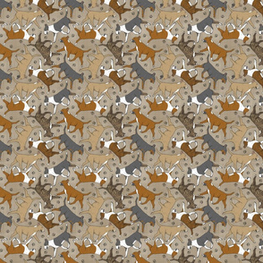 Tiny Trotting Bull Terriers colored and paw prints - faux linen