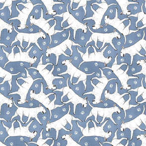 Trotting Bull Terriers white and paw prints - faux denim