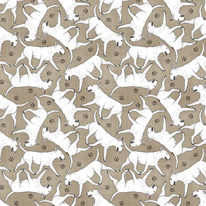 Trotting Bull Terriers white and paw prints - faux linen