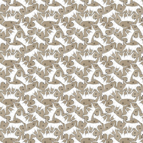 Tiny Trotting Bull Terriers white and paw prints - faux linen