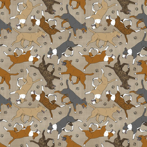 Trotting Miniature Bull Terriers colored and paw prints - faux linen