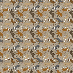 Tiny Trotting Miniature Bull Terriers colored and paw prints - faux linen