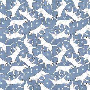 Trotting Miniature Bull Terriers white and paw prints - faux denim