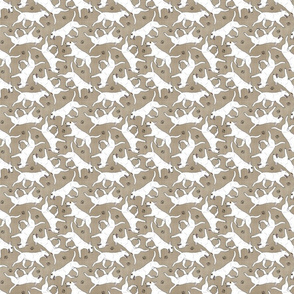 Tiny Trotting Miniature Bull Terriers white and paw prints - faux linen