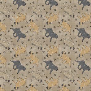 Trotting Pugs and paw prints - faux linen