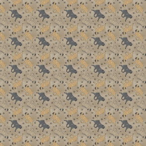 Tiny Trotting Pugs and paw prints - faux linen
