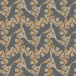 Trotting Rottweiler and paw prints - faux linen