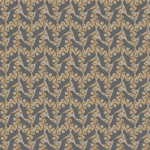 Tiny Trotting Rottweiler and paw prints - faux linen