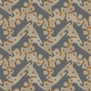 Trotting undocked Rottweiler and paw prints - faux linen