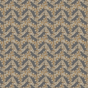 Tiny Trotting undocked Rottweiler and paw prints - faux linen