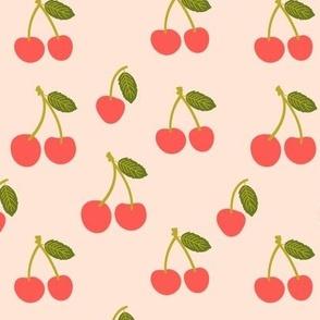 Medium  Red Cherries in pastel peach cute cherry fruits