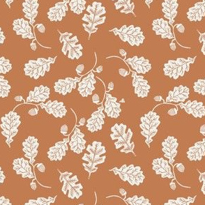SMALL Oak leaves nature botanical fall autumn fabric pattern - warm toffee
