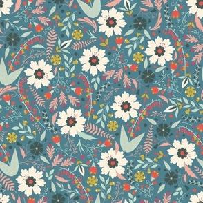 Folk Wildflowers Teal by DEINKI (Small Scale)