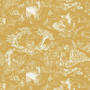Country Dog Toile White on Mustard
