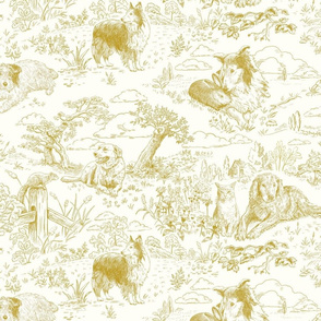 Country Dogs Toile Mustard