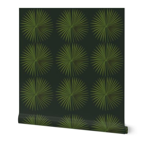 Emerald green moody tropical flora palm leaves - large scale
