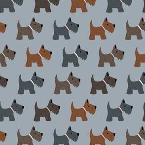 Kawaii Scottie dogs scottish terrier puppy kids design in neutral brown gray