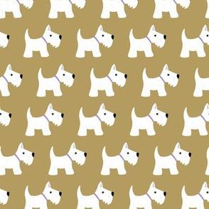 Kawaii Scottie dogs scottish terrier puppy kids design in neutral caramel brown gray maroon burgundy