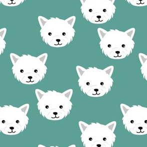 Minimalist west highland white terrier dogs and paws design kids sage green white