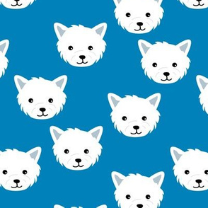 Minimalist west highland white terrier dogs and paws design kids classic blue white