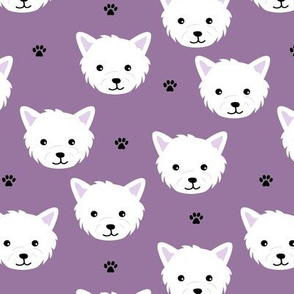Minimalist west highland white terrier dogs and paws design kids purple white