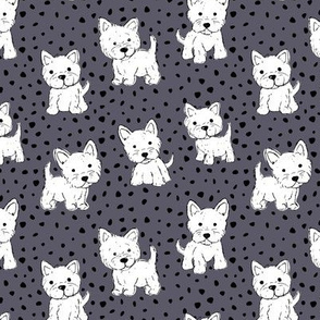 Little kawaii westie puppies adorable dogs print in hand drawn messy style with dots kids nursery design cool gray
