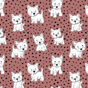 Little kawaii westie puppies adorable dogs print in hand drawn messy style with dots kids nursery design stone red white