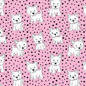 Little kawaii westie puppies adorable dogs print in hand drawn messy style with dots kids nursery design pink white