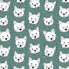 Adorable little west highland terrier hand drawn Westie dogs puppies and dots sea green white