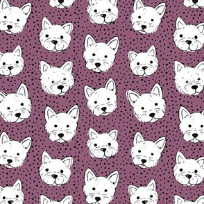 Adorable little west highland terrier hand drawn Westie dogs puppies and dots egg plant purple white