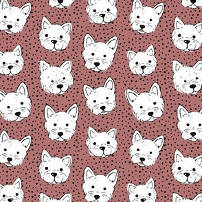 Adorable little west highland terrier hand drawn Westie dogs puppies and dots stone red white