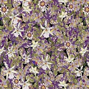 moody tropical floral final V2.jpg dark medium green violet pale purple moonlit orchids pale yellow white on black