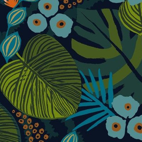 tropical floral navy teal medium scale