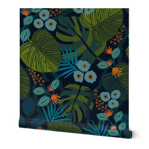 moody tropical fun wallpaper in blue green teal large scale