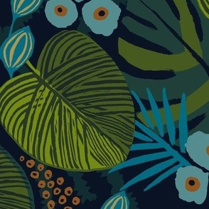 moody tropical floral blue navy teal large scale