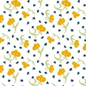 Orange Flowers on White 1