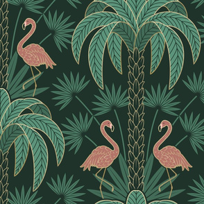 Palm Trees and Flamingo - Art Deco Tropical Damask - deep emerald green -extra large scale