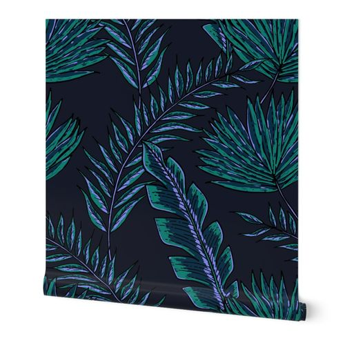 Tropical Flora Oversized - Moody Night