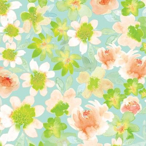 Watercolor Ditsy floral on Mint
